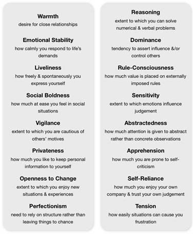 16pf personality traits